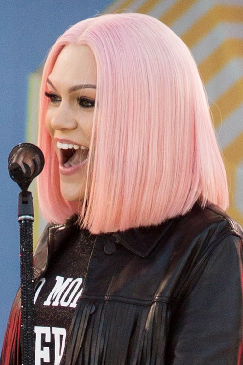 Jessie J Straight Pink Bob, Uneven Color Hairstyle | Steal ...