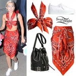 Miley Cyrus: Red Bandana Top & Skirt