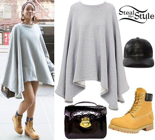 Rihanna: Grey Poncho, Leather Cap