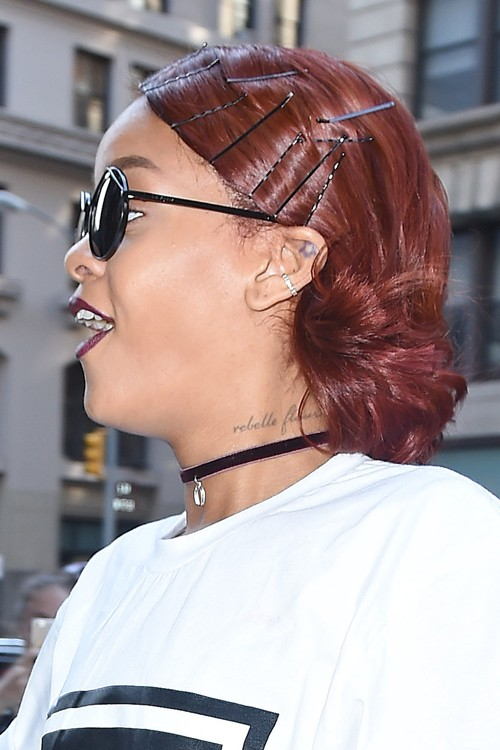 Rihanna Straight Auburn Bobby Pins Hairstyle | Steal Her Style