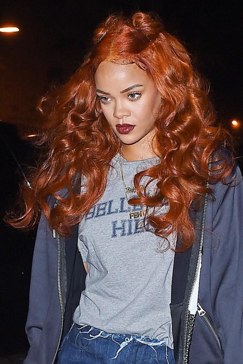 Rihanna Wavy Auburn Bobby Pins, Half-Up Half-Down, Pin ...