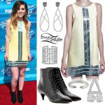 Sydney Sierota: Yellow Sequin Shift Dress