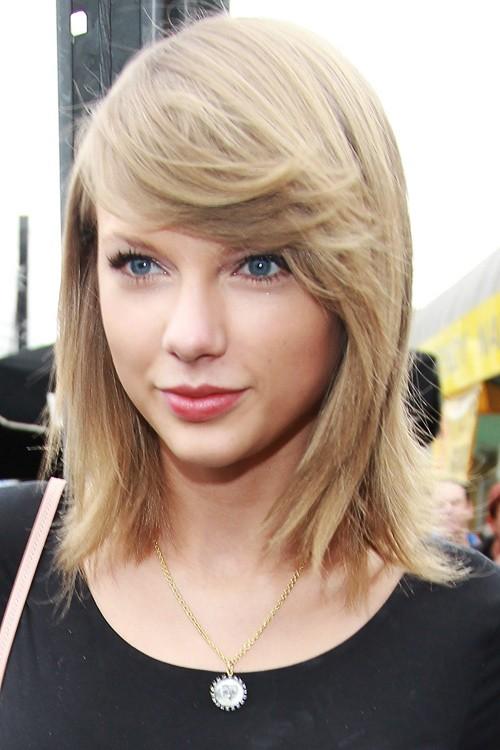 Taylor Swift Straight Light Brown Bob Sideswept Bangs