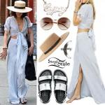 Vanessa Hudgens: Stripe Wrap Top & Skirt