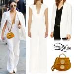 Vanessa Hudgens: Plunge Jumpsuit, White Blazer