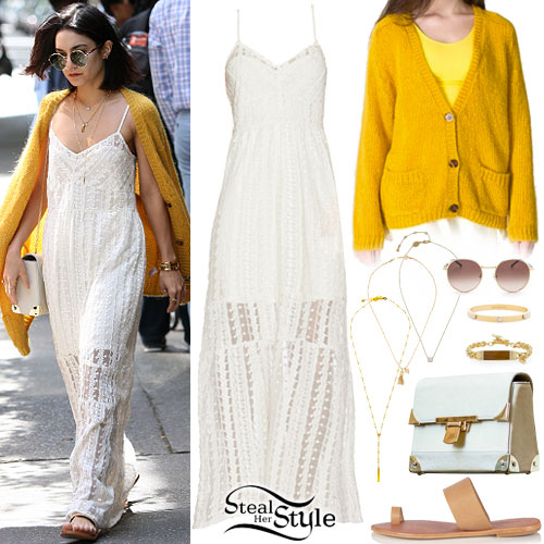 Vanessa Hudgens: Embroidered Dress, Yellow Cardigan