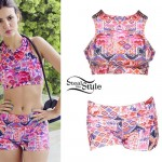 Victoria Justice: Pink Print Sports Bra & Shorts