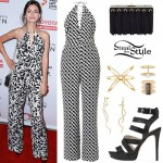 Victoria Justice: Printed Jumpsuit, Black Sandals
