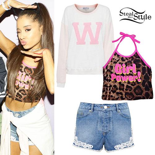 Ariana Grande: Leopard Halter, W Sweater