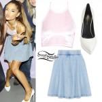 Ariana Grande: Velvet Halter, Blue Skirt