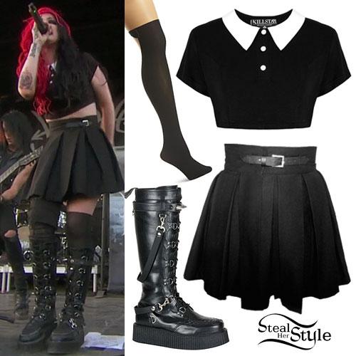 Ash Costello: Collar Top, Pleated Skirt
