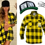 Beyoncé: Yellow Plaid Flannel Shirt