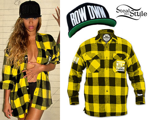 Beyoncé: Yellow Plaid Flannel Shirt