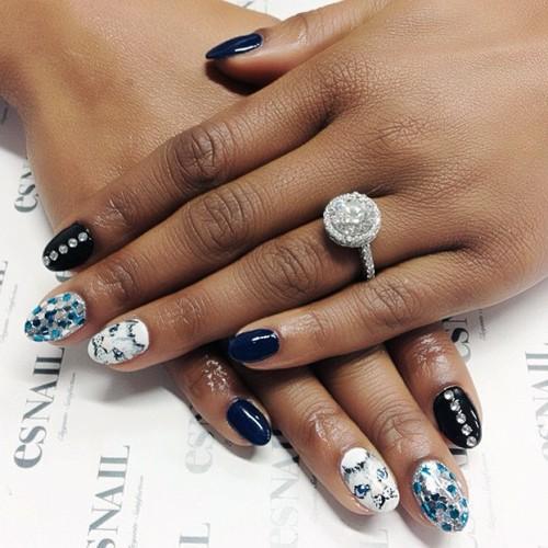 Brandy Norwood Black, Navy Blue, Silver, White Cats, Nail Art ...