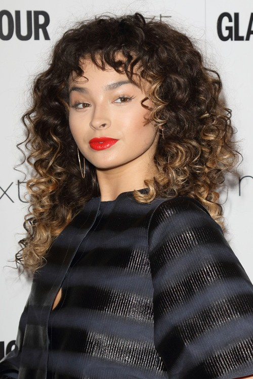 Ella Eyre Curly Dark Brown Afro Choppy Bangs Peek A Boo Highlights