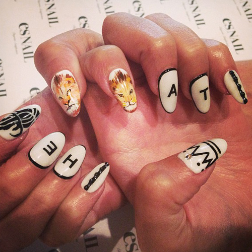 Genesis Rodriguez White Lion Nail Art Tribal Print Writing Nails Steal Her Style