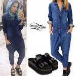 Halsey: Denim Jumpsuit, Flatform Sandals