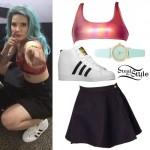 Halsey: Metallic Bralet, Black Skirt