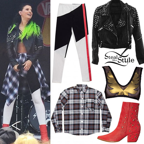 Juliet Simms: Colorblock Leggings, Red Boots