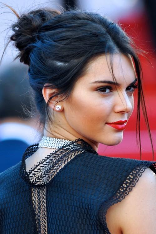 Kendall Jenner Straight Dark Brown Bun Face Framing