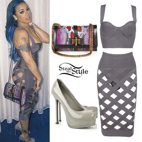 Keyshia Cole: Gray Lattice Top & Skirt