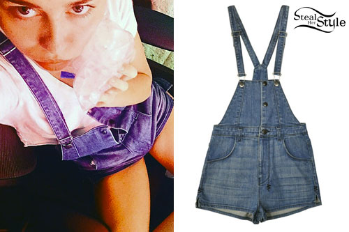 Miley Cyrus: Denim Overall Shorts