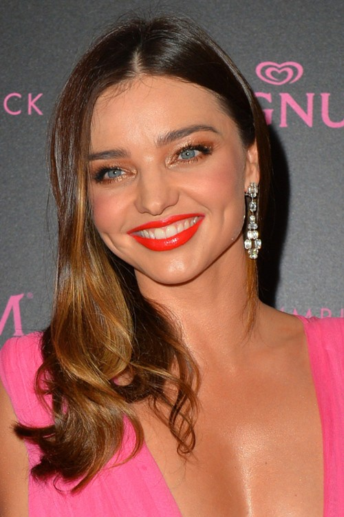 Miranda Kerr Wavy Dark Brown Ombr Side Part Hairstyle Steal Her