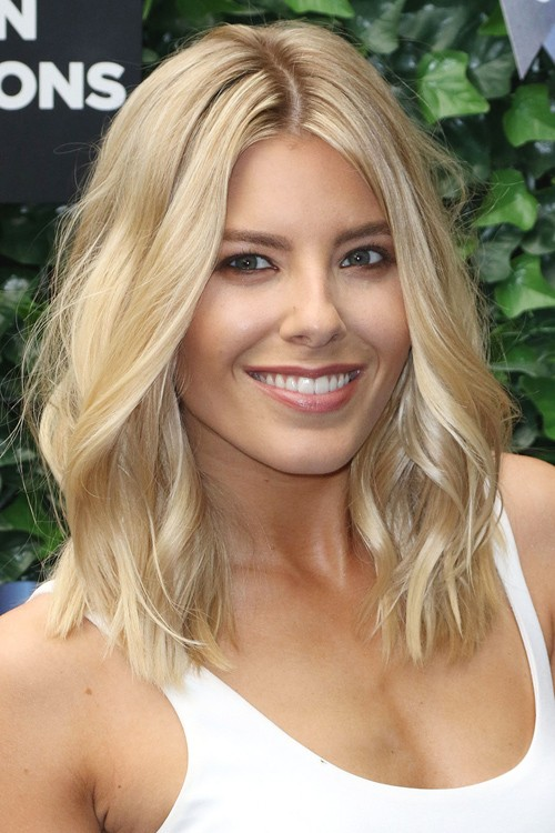 Mollie King Wavy Platinum Blonde All Over Highlights Bob