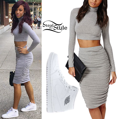 Natalie La Rose: Ruched Gray Skirt Outfit