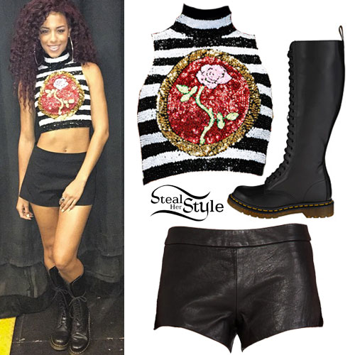 Natalie La Rose: Stripe Sequin Top