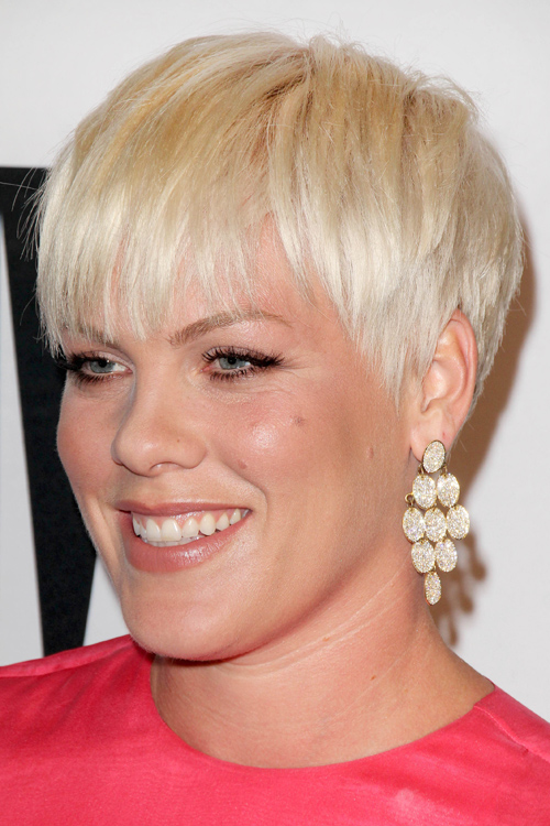 Pink Straight Platinum Blonde Pixie Cut Hairstyle
