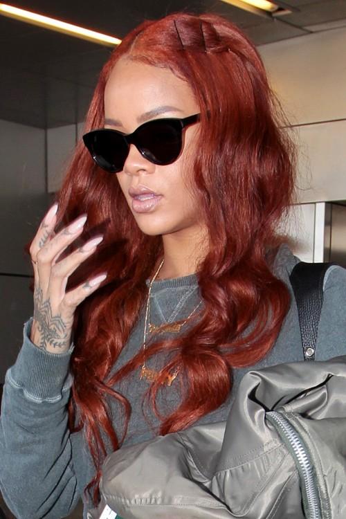 12. Rihanna Auburn Hair Color Thought: Strong plum auburn