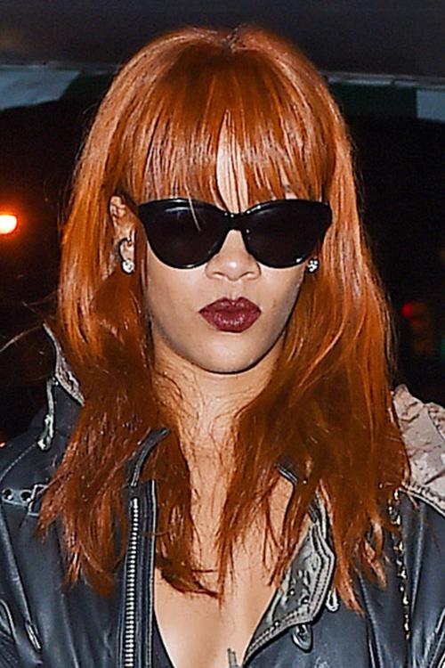 Rihanna Straight Auburn Choppy Bangs Hairstyle Steal Her
