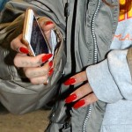 Rihanna seen arriving at London Heathrow Airport