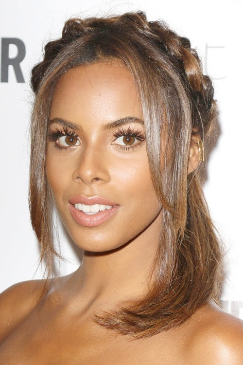 Rochelle Humes Straight Medium Brown Crown Braid Face