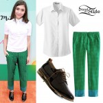 Rowan Blanchard: Green Printed Trousers