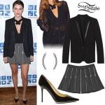 Ruby Rose: Black Blazer, Zipper Skirt