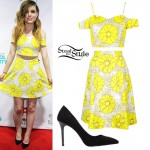 Sydney Sierota: Yellow Floral Top & Skirt