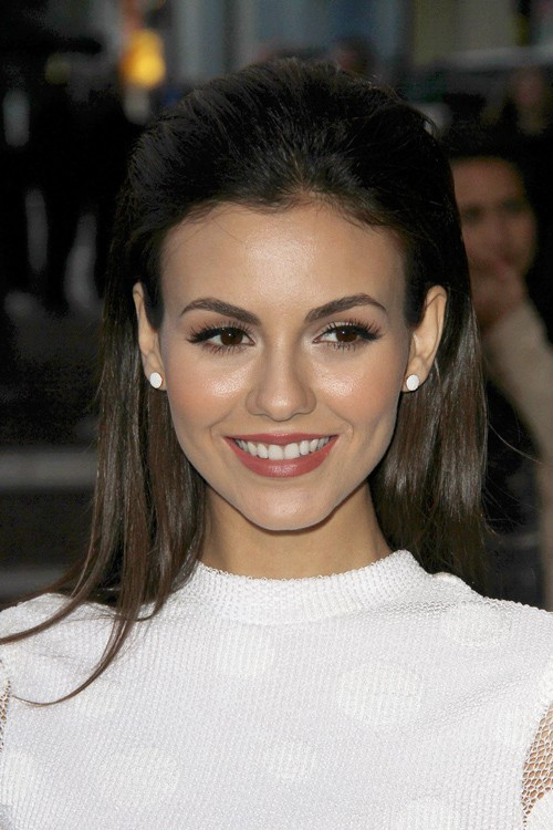 Astonishing Victoria Justice Straight Medium Brown Slicked Back Hairstyle Hairstyle Inspiration Daily Dogsangcom
