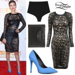 Victoria Justice: Laser-Cut Leather Dress