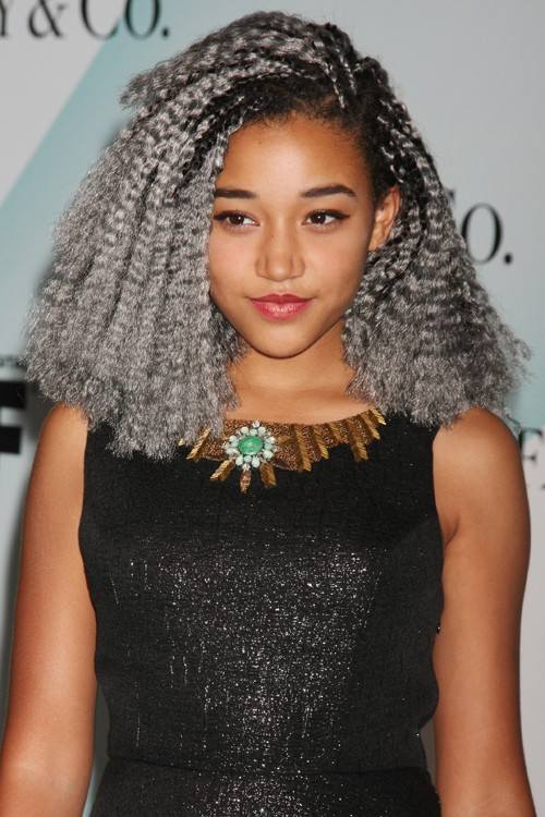 Amandla Stenberg Curly Silver Afro Dark Roots Hairstyle