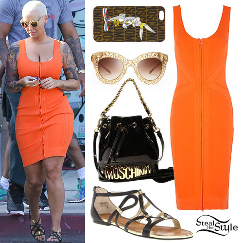 Amber Rose: Orange Zip-Front Dress