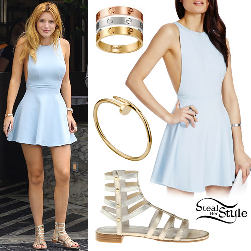 Bella Thorne Light Blue Skater Dress Steal Her Style