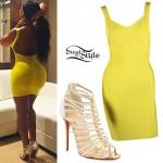 Blac Chyna: Yellow Dress, Strappy Heels