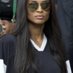American singer Ciara in the players box on Centre Court on day eight of the Wimbledon Tennis Championships in London