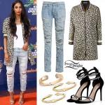 Ciara: Leopard Coat, Ripped Jeans