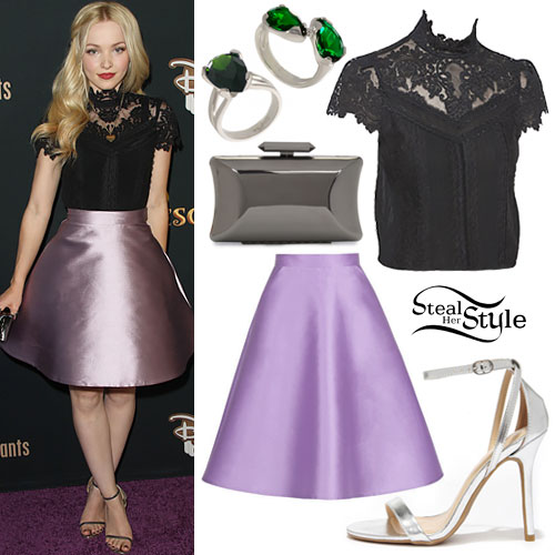 Dove Cameron: Lace Top, Lilac Skirt