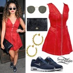 Ella Eyre: Red Zip-Front Dress