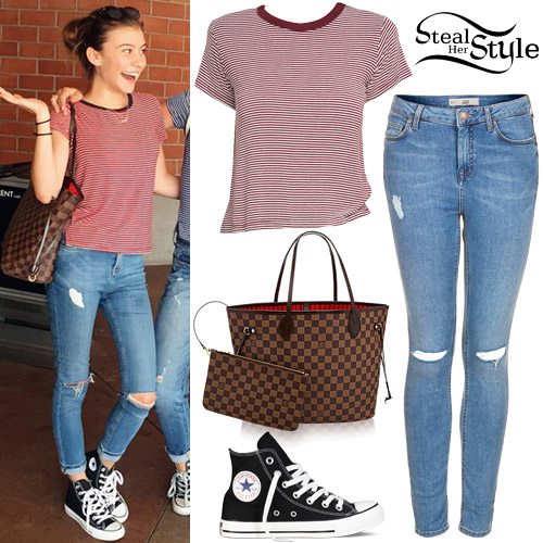 G Hannelius Striped T Shirt Ripped Jeans Steal Her Style