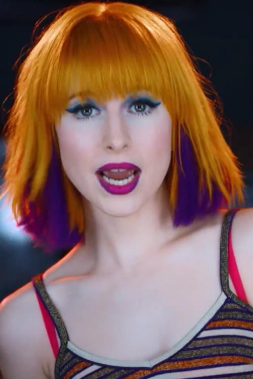 Hayley Williams Straight Orange Blunt Cut Bob Choppy